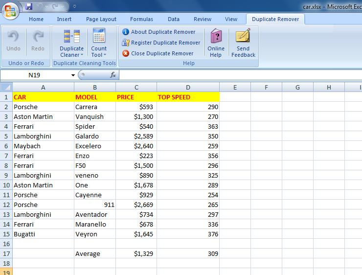 Windows 7 Excel Duplicate Remover 4.6 full