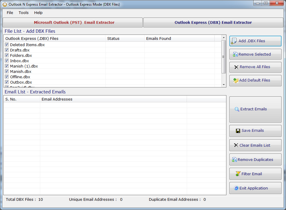 Outlook N Express Email Extractor